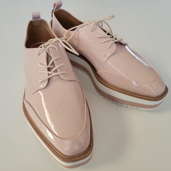 Zara Women Striped  platform derby shoes Sz 7.5